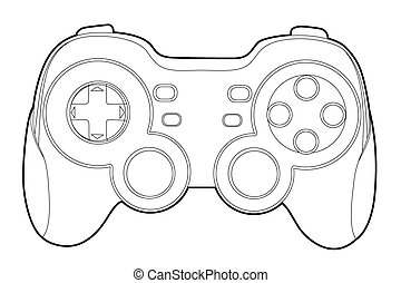 game-pad - Black outline gamepad on white bakcground (vector...