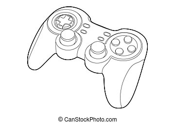 game-pad - Black outline gamepad on white bakcground (vector...