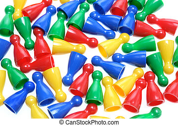 Game Pegs on White Background