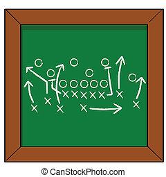 Game plan - Cartoon illustration of a football game plan on...