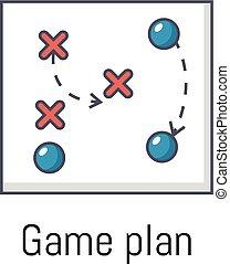 Game plan icon, cartoon style