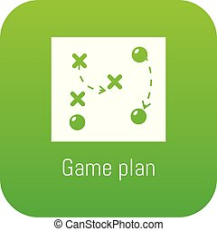 Game plan icon green vector