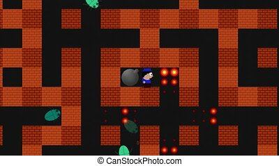Gameplay perspective of video game in which a character must use bombs to fight insects in a brick maze. 1080p stock footage