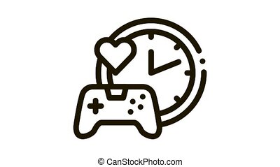 game playing love time Icon Animation. black game playing love time animated icon on white background