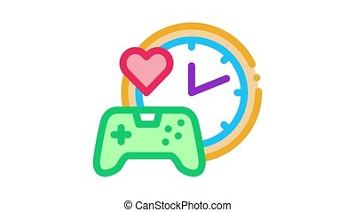 game playing love time Icon Animation. color game playing love time animated icon on white background