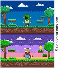 Game Process, Pixel Characters and Scenery Set