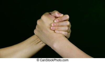 game., ręka, zapaśniczy, dwa ludzi