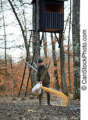 Game ranger at the feeding spot - Forest ranger at the game...