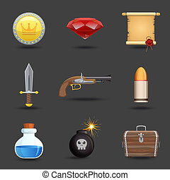 Game resources icons - Game resources play elements icons...