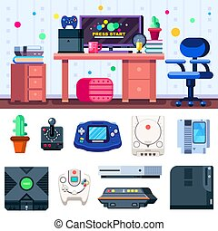 Game room set up. Gamer workplace with set of objects. Vector illustration.