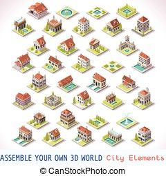 Game Set 03 Building Isometric - City Building Villas...