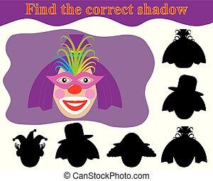 game., shadow., pagliaccio, trovare, kid's, woman., corretto
