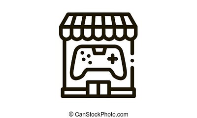 game shop Icon Animation. black game shop animated icon on white background