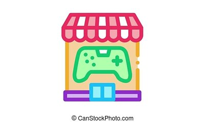 game shop Icon Animation. color game shop animated icon on white background