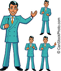 Game Show Host Poses - TV Game Show Host in Four Classic...