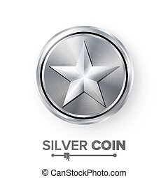 Game Silver Coin Vector With Star. Realistic Silver Achievement Icon Illustration. For Web, Video Game Or App Interface.