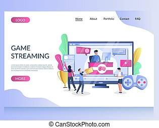 Game streaming vector website landing page design template