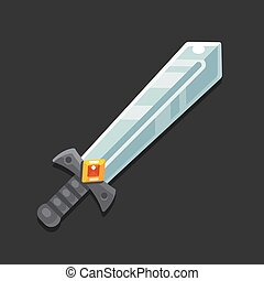 Game sword icon - Cartoon sword icon for video game. Modern...
