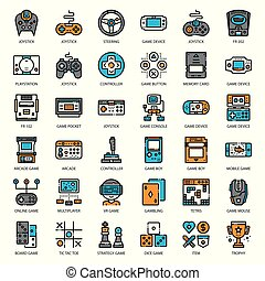 Game Technology filled outline icon - set of game technology...