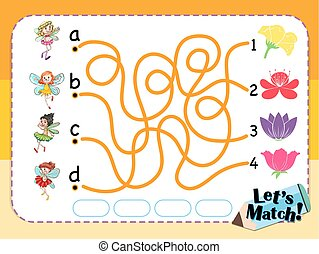 Game template for matching flower and fairies illustration