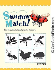 Game template for shadow matching bugs illustration