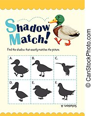 Game template for shadow matching duck illustration