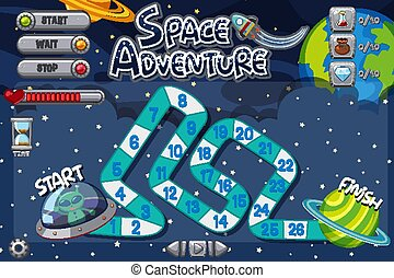 Game template with alien flying UFO