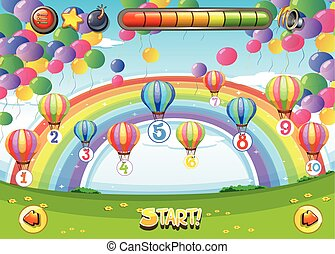 Game template with balloons and numbers