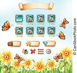 Game template with butterflies in the garden