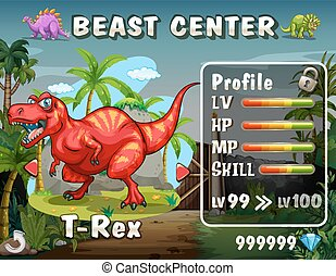 Game template with dinosaur background