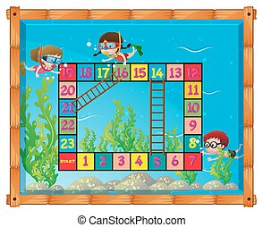 Game template with kids under the sea