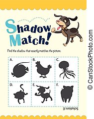 Game template with matching dog illustration