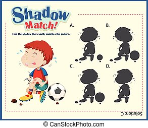 Game template with matching injured boy illustration