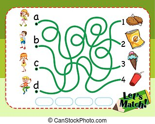 Game template with matching kids and snacks illustration