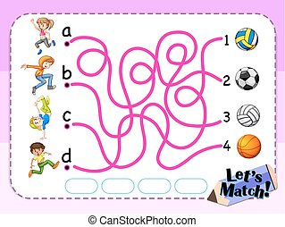 Game template with matching kids and sport illustration