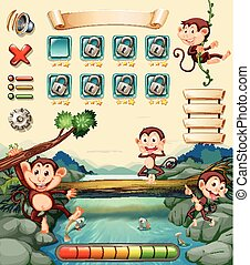 Game template with monkeys by the river