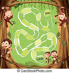 Game template with monkeys on the tree