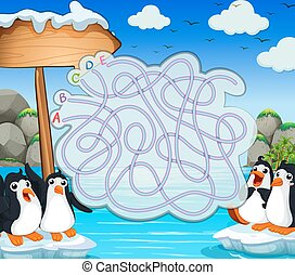 Game template with penquins on iceberg