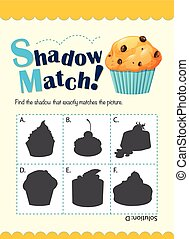 Game template with shadow matching muffin illustration