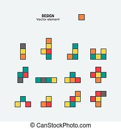 Game tetris square template. Brick game pieces