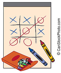 Drawing paper tablet with box of crayons, tic tac toe game. Customize your own game. EPS8 in groups for easy editing.