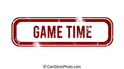 Game time - red grunge button, stamp