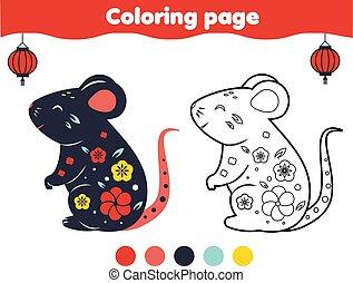 game., tout petits enfants, rat, décoratif, kids., enfants, image, pédagogique, coloration, couleur, page.