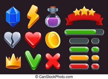 Game ui kit icons. Stars colored ribbons menus and status...