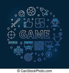 Game vector round blue outline illustration