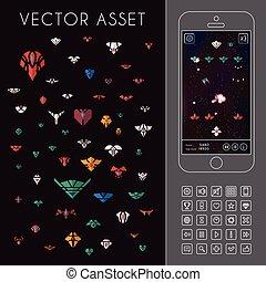 game., vetorial, ativo, arcada, espaço