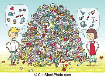 game., visueel, oplossing, layer!, voorwerpen, verborgen,...