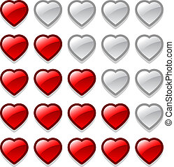 Game web rating hearts set - Vector game web rating hearts...