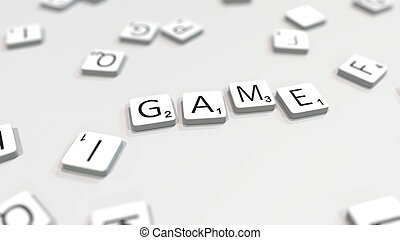 GAME word being composed with letters. 3D rendering