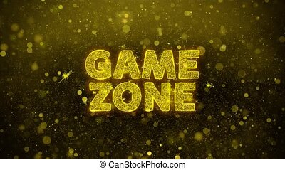 Game zone Text on Golden Glitter Shine Particles Animation.